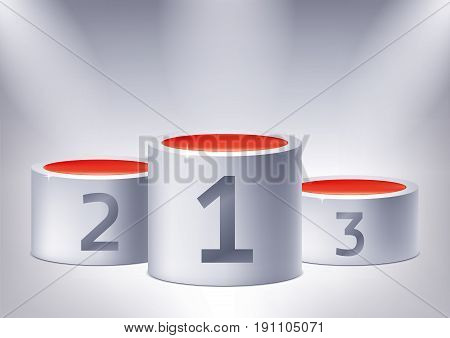One, two, three. Rewards on the illuminated podium, award pedestals, geometry shape, vector design for you project