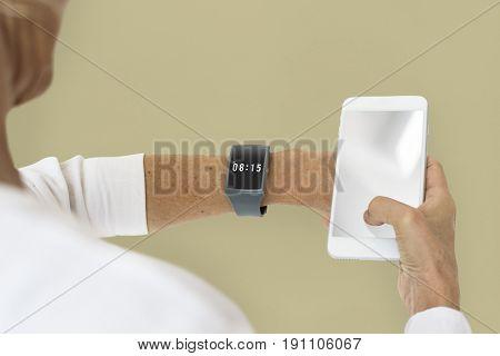 Blonde Woman Using Phone Smartwatch Gadget Studio