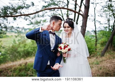 Beautiful Young Wedding Couple Admiring Each Other In A Pine Tree Forest.