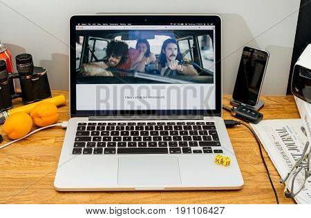 PARIS FRANCE - JUNE 6 2017: Apple Computers website on MacBook Retina in creative environment showcasing latest news from Apple at WWDC 2017 - Apple intro advertising with server room and end of the world