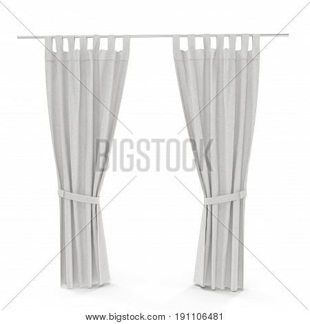Classic warm white curtain. Front view. Isolated on white background. 3D illustration. Include path.
