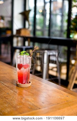 Lemonade Strawberry Soda Water In Glass Is The Drinking For Healthcare So Cool And Fresh On Holidays