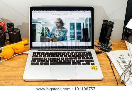 PARIS FRANCE - JUNE 6 2017: Apple Computers website on MacBook Retina in creative environment showcasing latest news from Apple at WWDC 2017 - wlcome to wwdc
