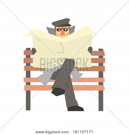Detective character sitting on a bench and spying reading newspaper, private investigator, inspector or police officer vector Illustration isolated on a white background