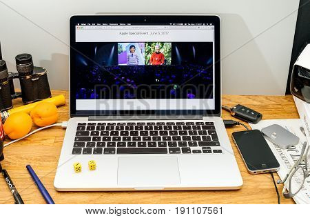 PARIS FRANCE - JUNE 6 2017: Apple Computers website on MacBook laptop in creative environment showcasing news from Apple at WWDC 2017 - youngest and oldest App developers