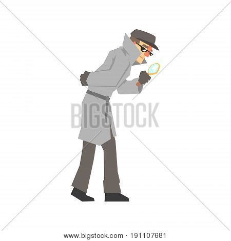 Detective character looking through magnifying glass, confident detective in gray coat searching vector Illustration isolated on a white background