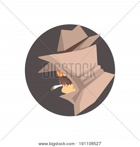 Disguised detective character avatar, private investigator, inspector or police officer vector Illustration