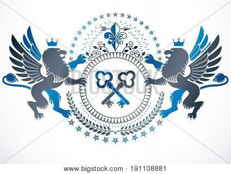 Vintage award design vintage heraldic Coat of Arms. Vector emblem composed with mythology gryphon crossed keys and monarch crown.