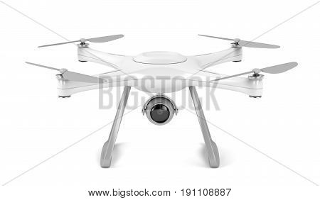 Unmanned aerial vehicle (drone) on white background, 3D illustration