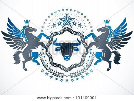 Vector emblem made in vintage heraldic design and decorated with winged Pegasus wild bull and laurel wreath