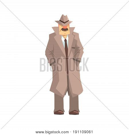 Detective character standing, private investigator, inspector or police officer vector Illustration isolated on a white background