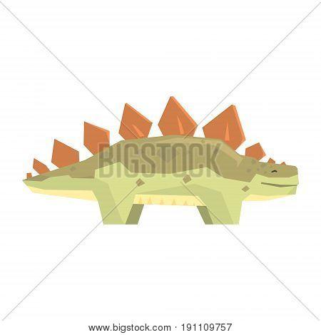 Cartoon stegosaurus dinosaur character, Jurassic period animal vector Illustration isolated on a white background