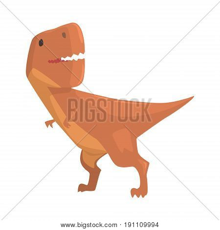 Cartoon allosaurus dinosaur character, Jurassic period animal vector Illustration isolated on a white background