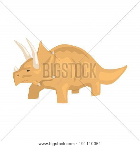Brown styracosaurus dinosaur character, Jurassic period animal vector Illustration isolated on a white background