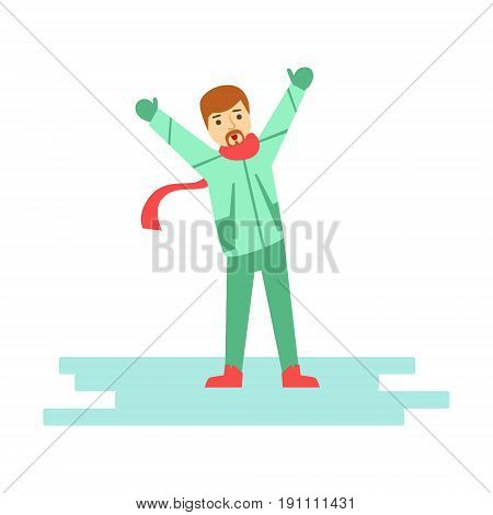 Happy young man having fun during winter holidays vacation outside. Winter activity colorful character vector Illustration isolated on a white background