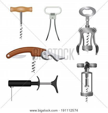 Set of bottle openers with wooden and metal handles vector illustration. Types of devices for removing metal caps from bottles, corkscrews used to remove cork or plastic stoppers