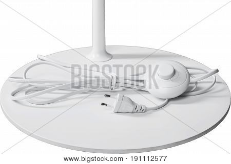 A Close Up Partial View of a white Floor Lamp. part of lamp isolated on white