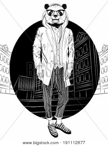 Fashion Hipster Panda on city background, vector portrait. Black and white