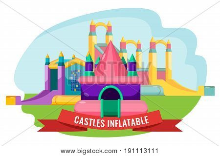 astles inflatable collection for children's summer rest isolated on white. Vector poster of childish city with bouncy attractions