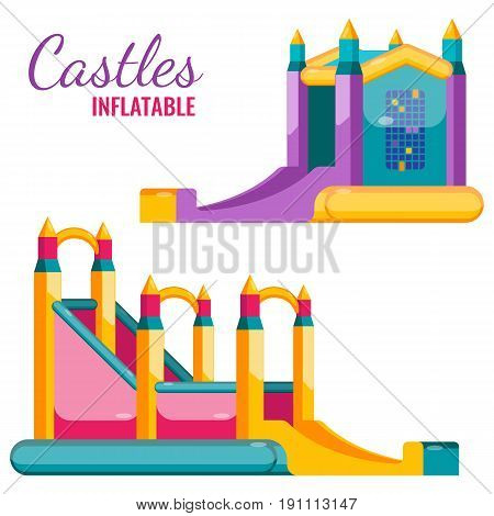 Two colorful castles inflatable isolated on white vector flat poster. Bouncy attractions for children amusement, jumping and sliding