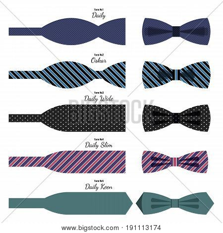 Bow ties collection with ready and unfinished decorations, its names. Vector poster of decorative elements for men while wearing suits