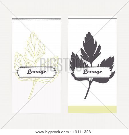 Lovage seasoning. Hand drawn branch with leaves in outline and silhouette style. Spicy herbs retro labels collection for food packaging or kitchen design. Vector illustration