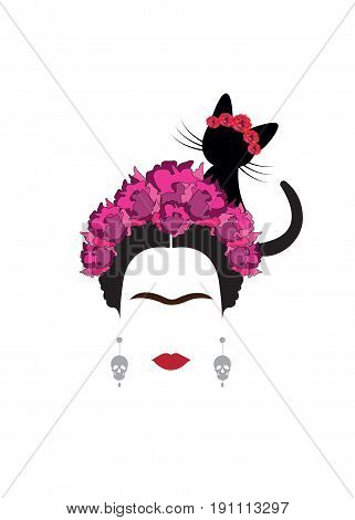 portrait of Mexican or Spanish woman minimalist Frida with cat and red flowers, vector isolated