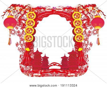 Mid-Autumn Festival for Chinese New Year - frame , vector illustration