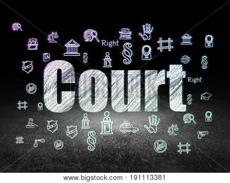 Law concept: Glowing text Court,  Hand Drawn Law Icons in grunge dark room with Dirty Floor, black background