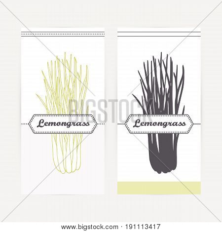 Lemongrass seasoning. Hand drawn branch with leaves in outline and silhouette style. Spicy herbs retro labels collection for food packaging or kitchen design. Vector illustration