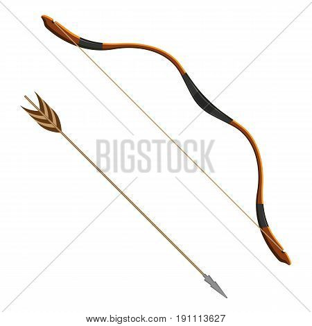 Bow and arrow realistic vector illustration of projectile weapon system archery. Flexible arc that shoots aerodynamic projectiles called arrows