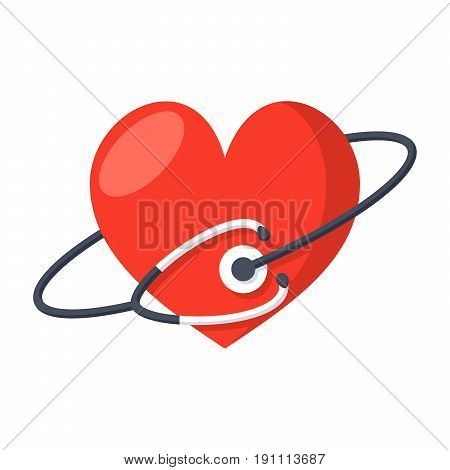 Heart care concept with medical stethoscope and red heart, vector icon in flat style