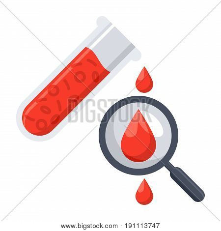 Hematology concept with red blood cell in test tube, magnifying glass and drop blood, vector illustration in flat style