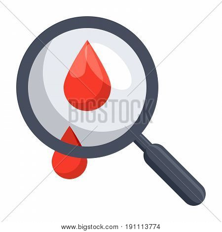 Hematology concept with blood drop and magnifying glass, vector illustration in flat style