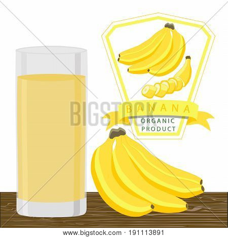 Abstract vector illustration logo for whole ripe fruit yellow banana stem leaf cut sliced glass background.Banana drawing consisting of tag label peel fruits ripe sweet food glass.Drink fresh bananas.