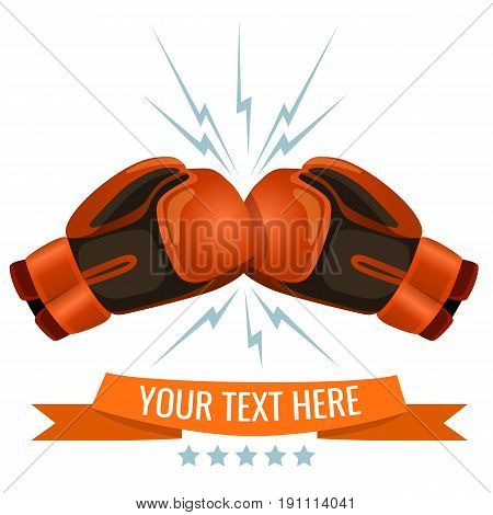 Boxing gloves hitting one another logotype design, add your text here. Cushioned mittens that fighters wear on hands during boxing matches and practices.