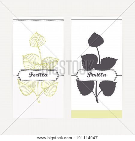 Perilla seasoning. Hand drawn branch with leaves in outline and silhouette style. Spicy herbs retro labels collection for food packaging or kitchen design. Vector illustration