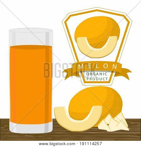 Vector illustration logo for whole ripe fruit yellow melon,cut half sliced cantaloupe, glass background.Melon pattern consisting of tag label,natural sweet food.Drink fresh raw fruits melons in glass.