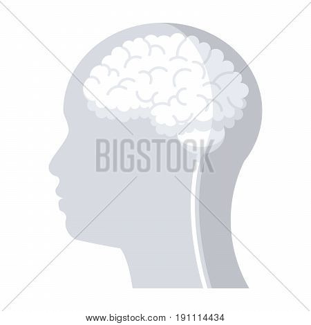 Brain in head for neurology concept, vector icon in flat style