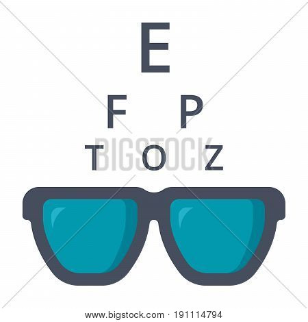 Optometry concept with glasses and Snellen chart, vector icon in flat style