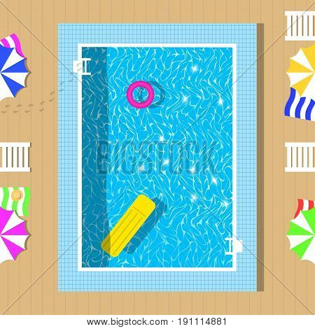 Swimming pool top view with reflection of clear water. Relaxation zone near pool. Vector illustration.