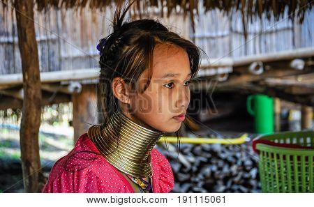 Long Neck Young Girl Near Chiang Mai, Thailand