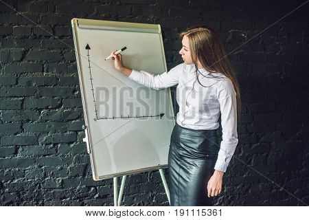 bussiness meeting and education - businesswoman with flipchart in office.