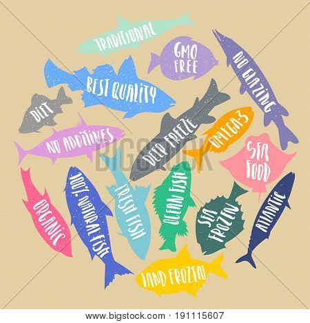 Vector set of stylized fish with handwritten lettering in the form of circle on cardboard background. Poster banner sticker for fresh organic natural sea food.