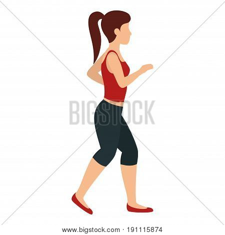 runner woman with sport wear vector illustration design