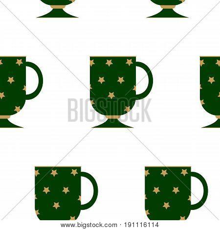 Vector coffee cup icons with arabic gold pattern. Arabic coffee. Seamless pattern with arabic gift mug. Ramadam Mug Gift Set. Coffee Cup. Islamic Gifts.