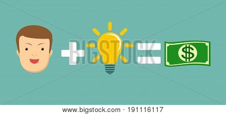 Man plus idea is equal to money. Stock vector illustration for poster, greeting card, website, ad, business presentation, advertisement design.