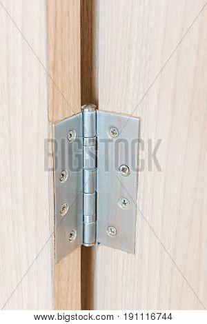 Stainless Door Hinges On Wooden Swing Door
