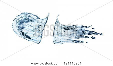 blue water splash isolated on white background. 3d rendering