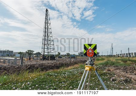Survey Equipment Tacheometer Or Theodolite Outdoors At Construction Site